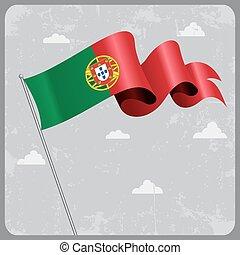 ポルトガル語, 波状, ベクトル, イラスト, 旗