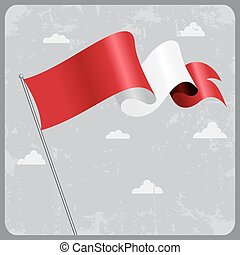 Peruvian wavy flag. Vector illustration. - Peruvian flag...