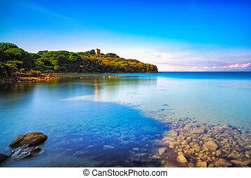 Punta Ala sea, wild beach bay. Maremma Tuscany, Italy Europe...