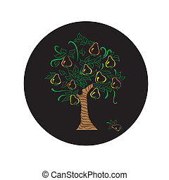 pear tree with leaves harvest garden .pear tree on white...
