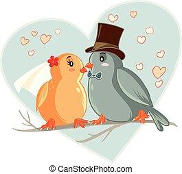 Lovebirds Vector Cartoon Wedding Invitation - Vector drawing...
