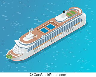 Luxury cruise ship. A modern liner is in an ocean. Flat 3d vector isometric illustration