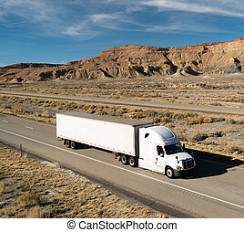 OTR Vehicle Transportation 18 Wheeler Big Rig White Semi...
