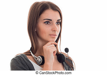 portrait of young pretty call center worker girl with...