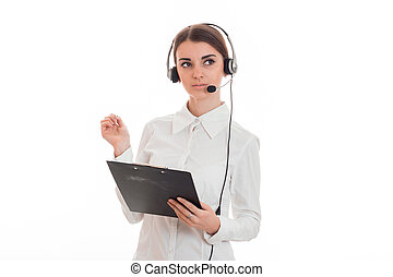 portrait of young attractive call center worker girl with...