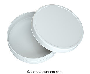 Opened Empty Cream Can. Top View. Products Mock Up. Isolated...