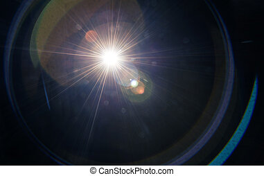 Lens flare - Natural lens flare on a dark background