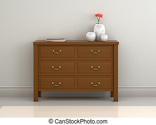3D illustration of a wooden commode with vases and books on a light background. 3d illustration