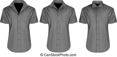 Mens short sleeved shirts with close and open collars - Mens...