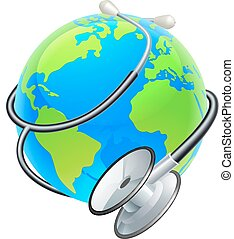 Stethoscope World Health Day Earth Globe Concept -...