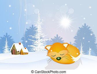 red fox in hibernation - illustration of red fox in...