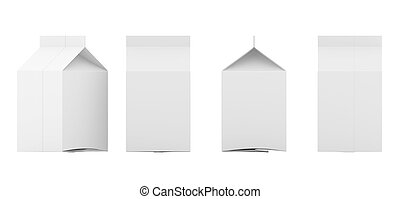 Group of blank milk boxes. Retail package mockup set. Isolated on white. 3d rendering