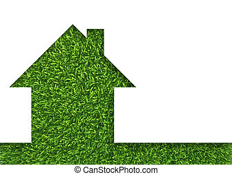 Grass home icon from background, isolated on white