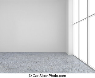 white wall with large windows. 3d rendering