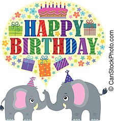 Happy birthday theme with elephants