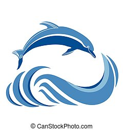 Blue dolphins jumping in sea.Vector isolated on white - Blue...