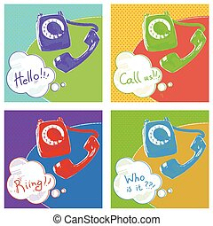 Retro telephone.Vector pop art color illustration with text