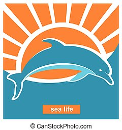 Dolphin jumping in sea.Vector poster illustration in flat...