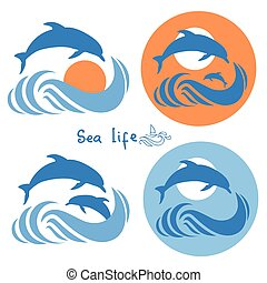 Dolphins jumping in sea.Vector logo isolated on white -...