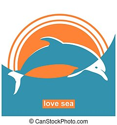 Dolphin jumping in sea.Vector sign concept sea illustration...