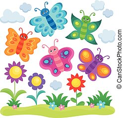 Stylized butterflies theme image 1 - eps10 vector...