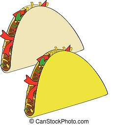 Tacos - Illustration of a couple of Mexican tacos, one made...