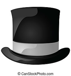 Top hat - Glossy illustration of a black and gray top hat