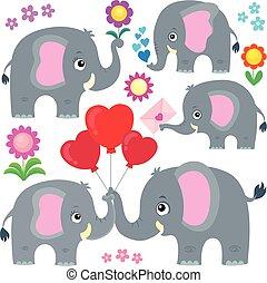 Stylized elephants theme set 4