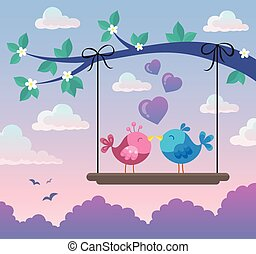 Valentine birds on board below branch 2 - eps10 vector...
