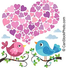 Valentine birds with heart shape theme 1