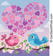 Valentine birds with heart shape