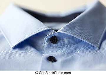 close up of blue shirt collar - clothing, formal wear,...