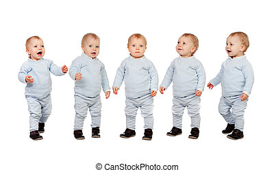 Five adorable babies learning to walk isolated on a white...