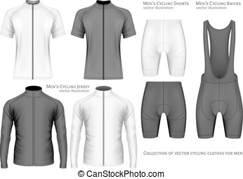 Collection of cycling clothes for men.