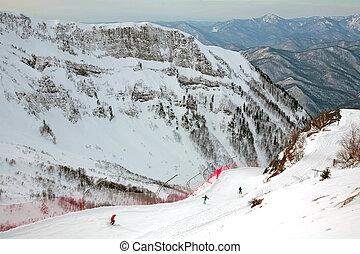People skiing at Gorky gorod resort in Sochi - Sochi, Russia...