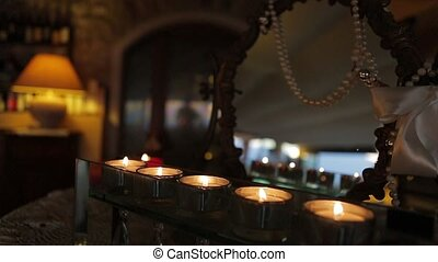 Romantic evening. - Beautiful romantic candles in the cozy...