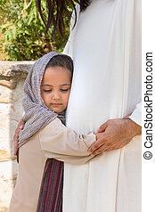 Little girl hugging Jesus - Biblical scene when Jesus says,...