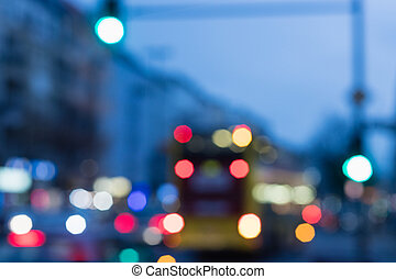 Bokeh background city lights out of focus