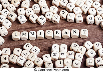Immigrant, letter dices word - Word Immigrant in letters on...