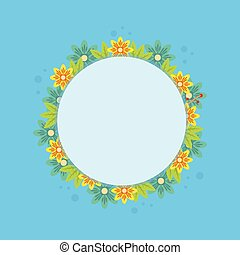 Frame with spring flower on blue background