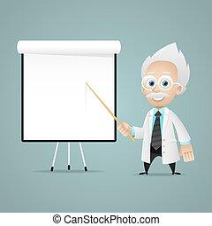 Scientist points on flipchart - Illustration, scientist...