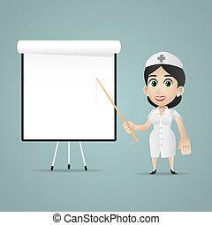 Nurse points on flipchart - Illustration, nurse points on...