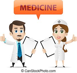 Nurse and doctor showing thumb up