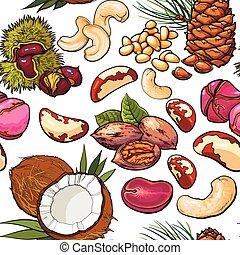Seamless pattern of walnut, coconut, cashew, kola, pine,...