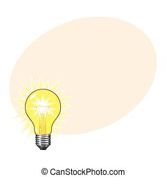 Old fashioned glowing tungsten light bulb, side view, vector...