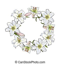 Round frame of white lily flowers, decoration element