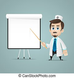 Doctor points on flipchart - Illustration, doctor points on...