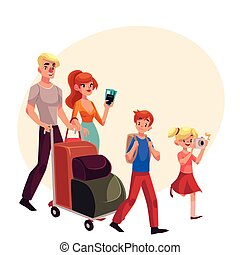Family of four pushing luggage cart at airport, travelling...