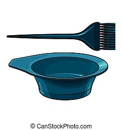 Color mixing plastic hairdresser brush, hairbrush and bowl