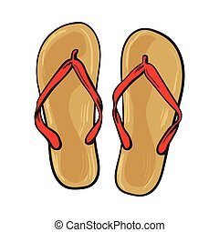Pair of flip flops, summer time vacation attribute,...